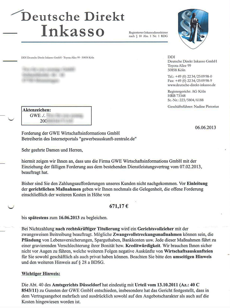 Lüdecke Fritzsch Rechtsanwälte Hilfe Gegen Die Gewerbeauskunft