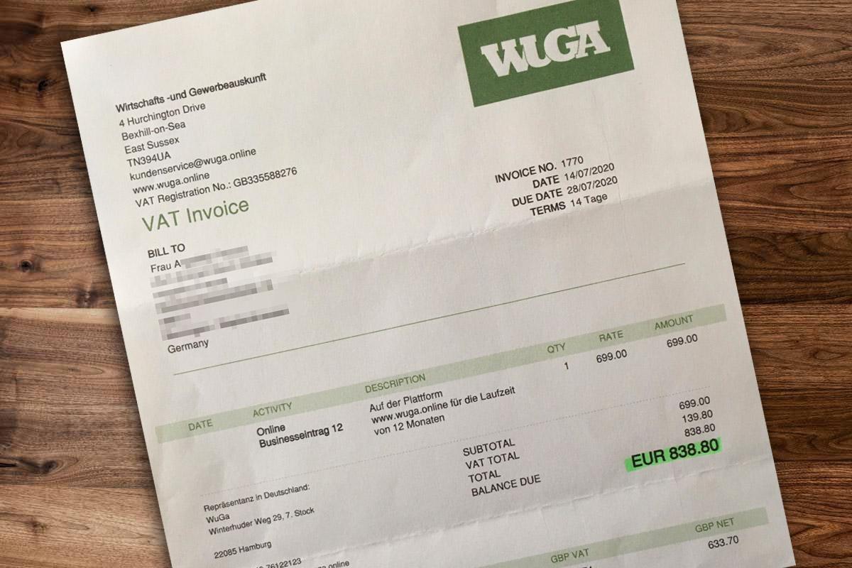 Abwehr der Abofalle WuGa - Wirtschafts und Gewerbeauskunft